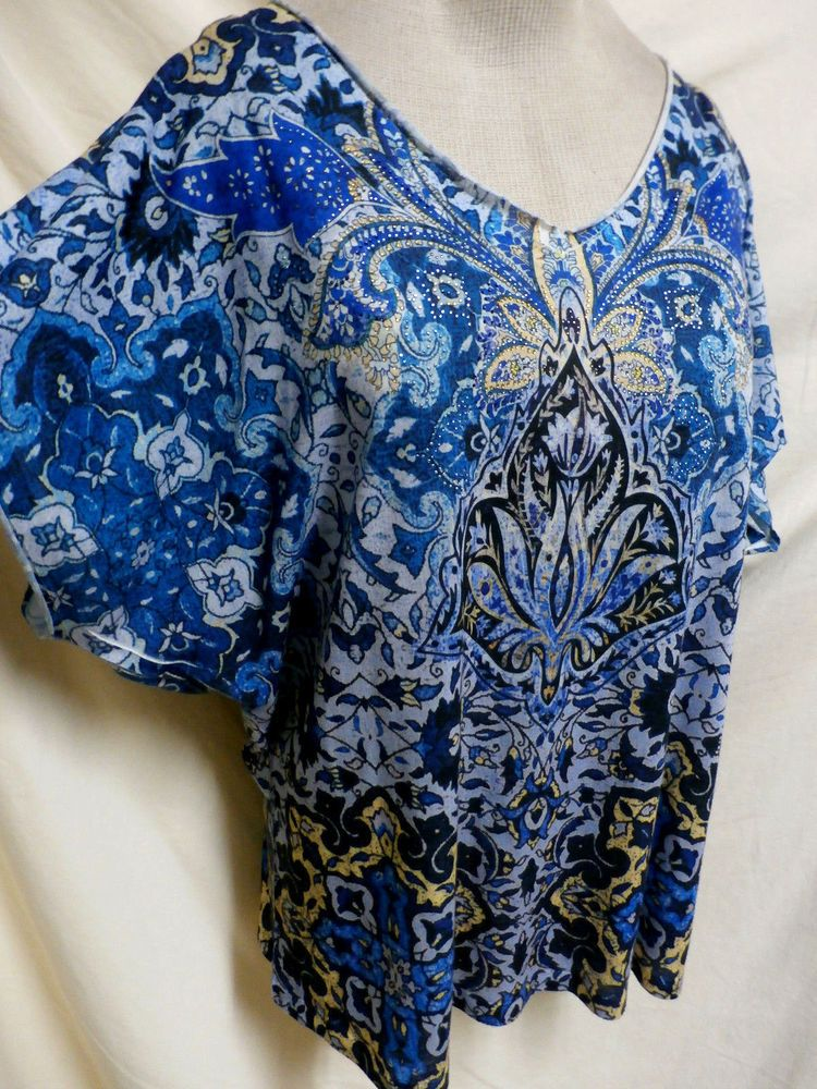 Chico's Blue & Black Embellished Short Sleeve Easy Care Top Size 3 #Chicos #KnitTop