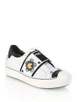 Fendi - Flowerland Leather Sneakers