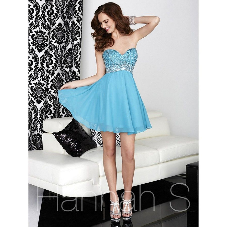 The House of Wu Hannah S 27045 short dress features an airy A-line ...
