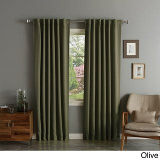Aurora Home Solid Insulated Thermal Blackout Long Length Curtain