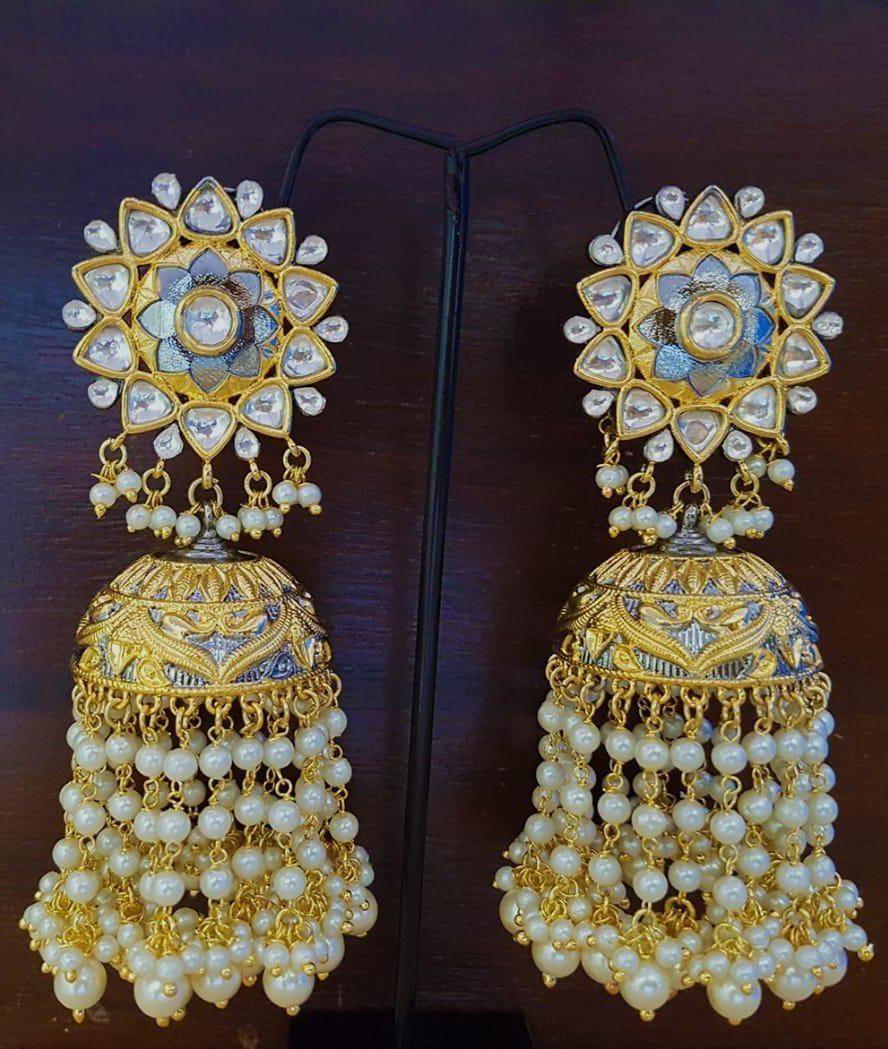 Gold Plated Kundan Jhumka Earrings At Fashion Kida In 2019