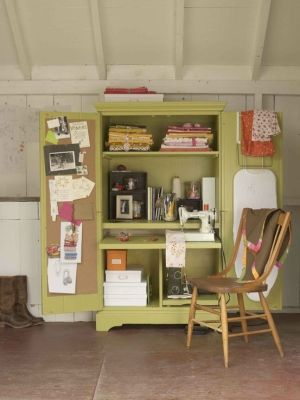 Use Armoire For Craft And Sewing Storage!