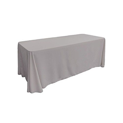 Superbe Rectangular Polyester Tablecloth 84 X 108 Inches By ADDu0026SHIP (Silver)