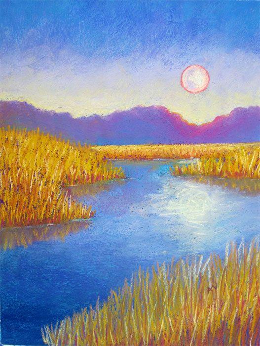 Summer Evening Moonrise Pastel Landscape Drawing Original Artwork Original Painting Summer Nights Landscape Drawings Pastel Landscape Pastel Artwork