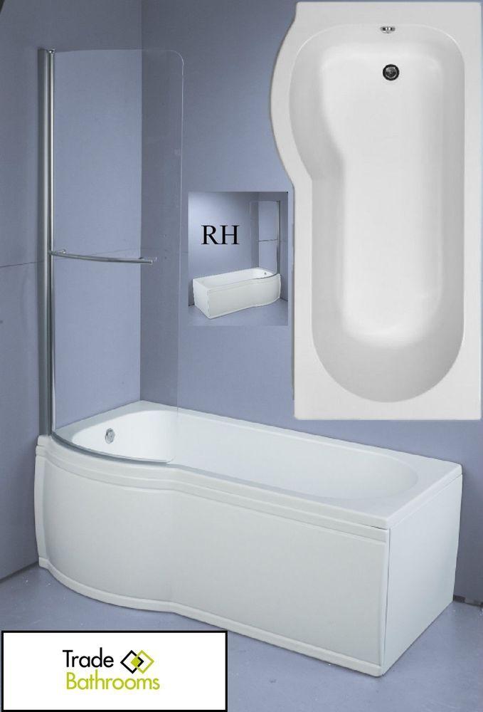 Trojan Concert Shower Bath Compact Space Saving Bath With Panel Screen 1500x700 Ebay Space Saving Baths Shower Bath Complete Bathrooms