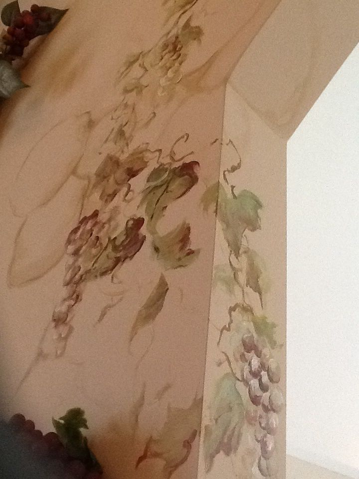 Hand Painted Grapes And Vines Exterior Wall Art Tuscan Wall