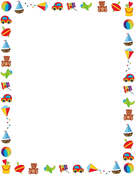 Colorful border on a white background featuring children\'s toys ...