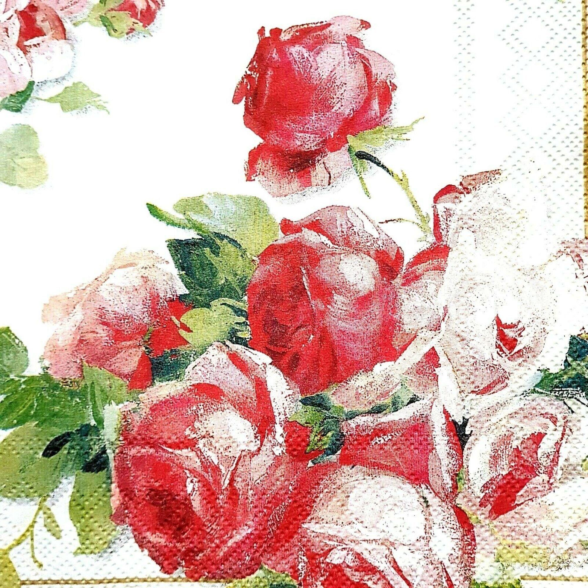 4 Paper Napkins Decoupage Napkins Vintage Roses Paper Collection Serviettes
