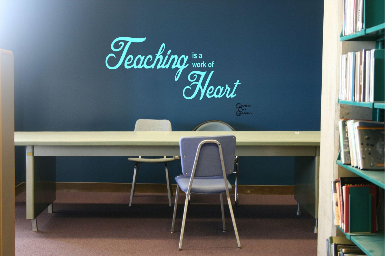Teaching is a Work of Heart - Vinyl Decal by GraniteCityGraphics on Etsy