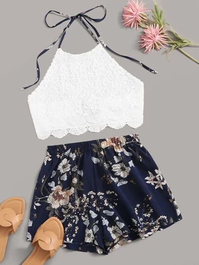 Romwe Girls Summer 2 Piece Twist Front Crop Tops with Floral Belted Short Set