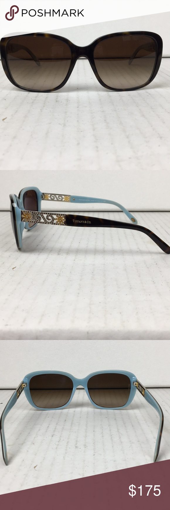 5b6335901bdd SUNGLASSES TIFFANY   CO. WOMENS SUNGLASSES EXCELLENT CONDITION BROWN WITH  TURQUOISE LINING BEAUTIFUL DETAILING WITH FLOWERS PERFECT FOR SUMMER PRICE  ...
