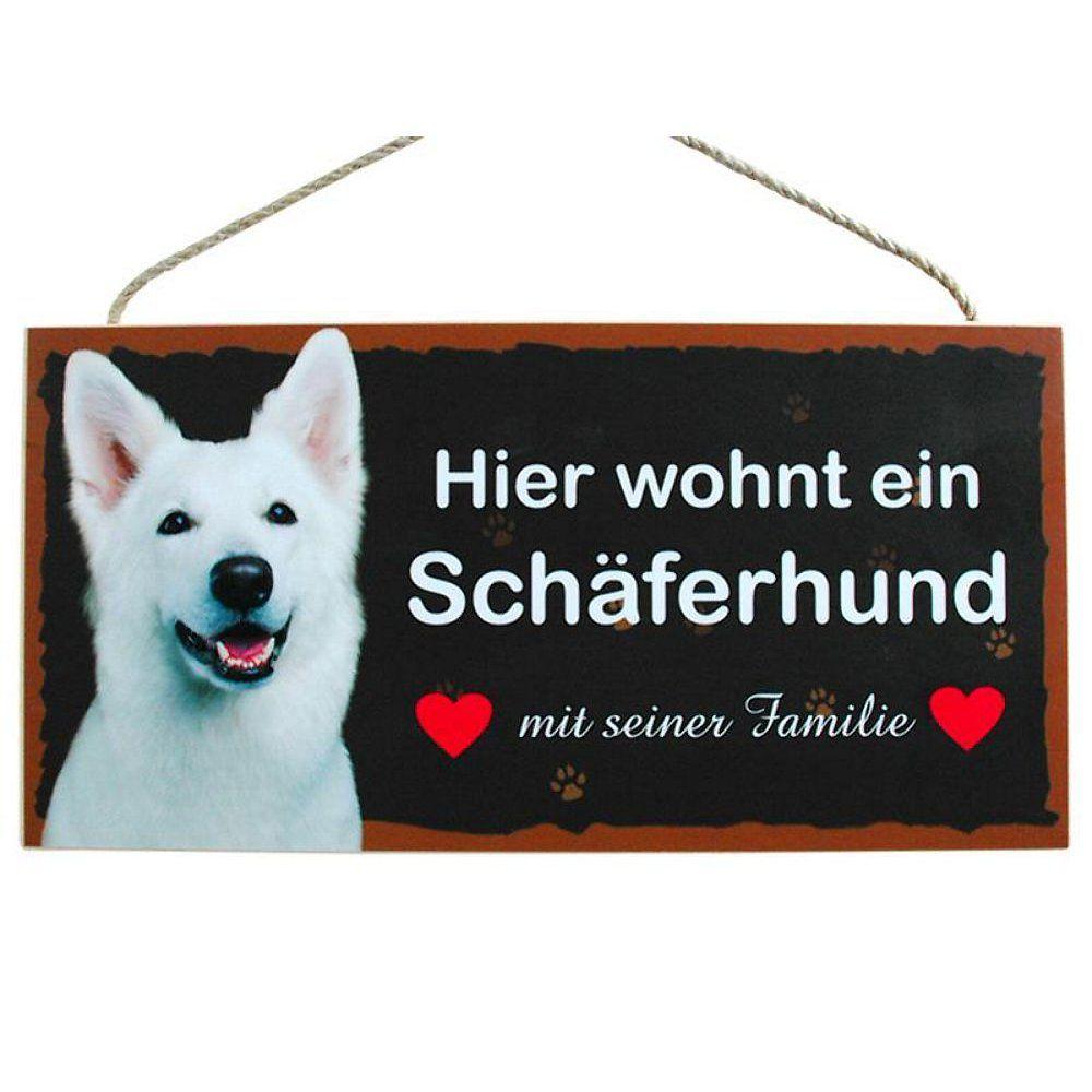 Hund Türschild Hier wohnt ein Schäferhund weiß aus Holz Hundeschild ...