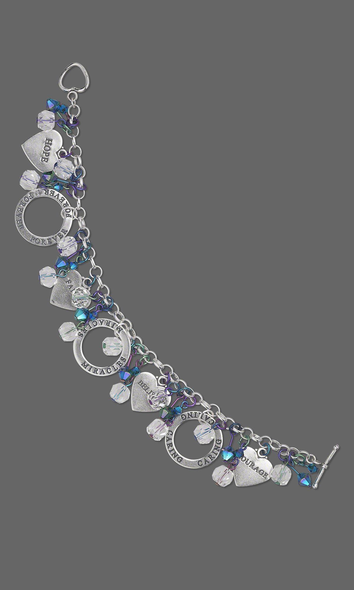 Jewelry design bracelet with sterlingsilver charms swarovski
