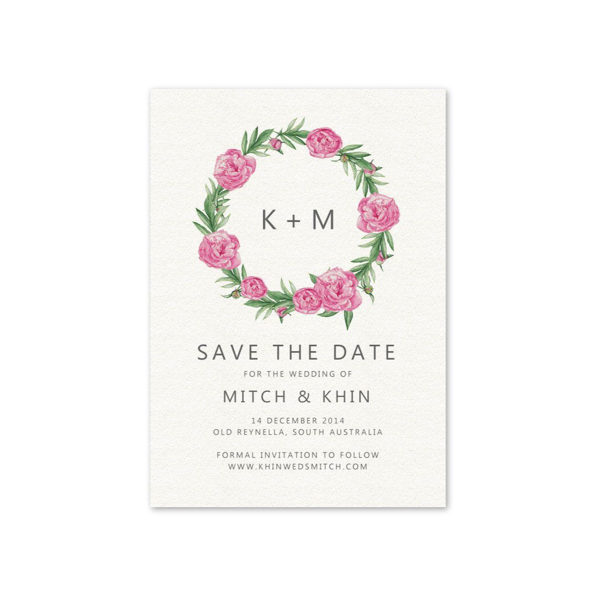 Wedding save the date printable invitation card pink peony floral wedding save the date printable invitation card pink peony floral wreath simple modern invitation stopboris Choice Image