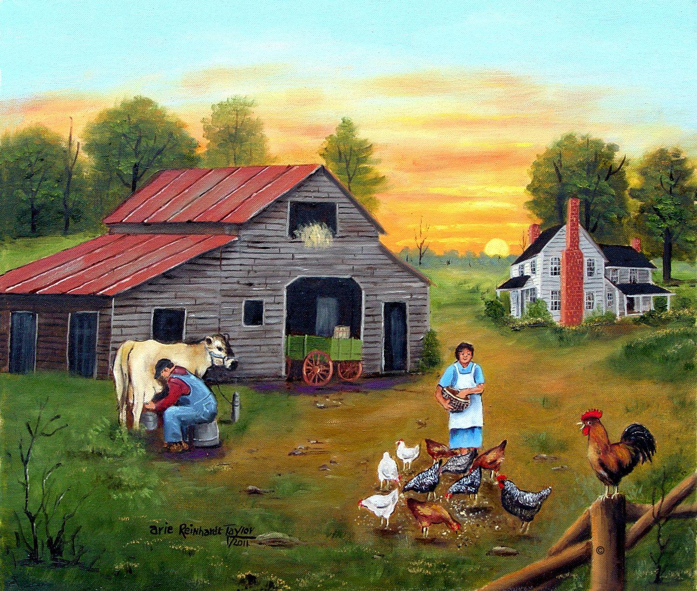 Folk Art Landscape Country Scene Home Decor Print Milking