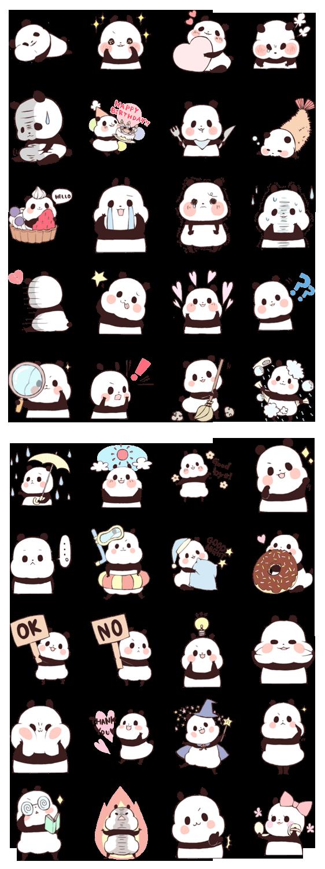 Line sticker panda character cute fat kawaii