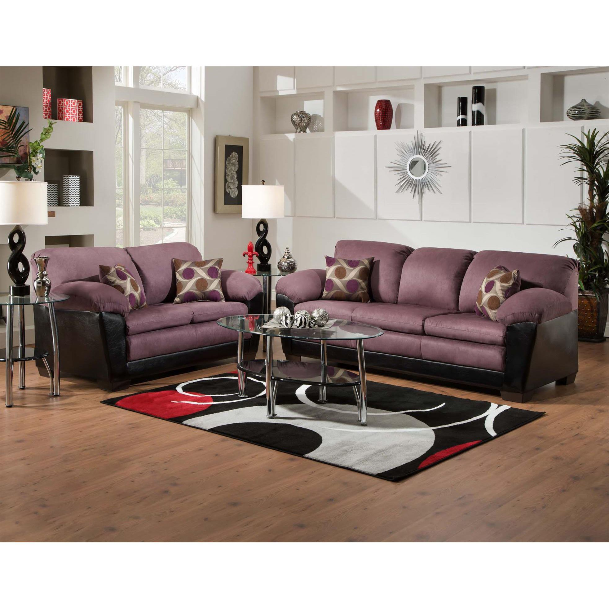 SOFA TRENDZ Anita Eggplant Fabric 2 piece Sofa and Loveseat
