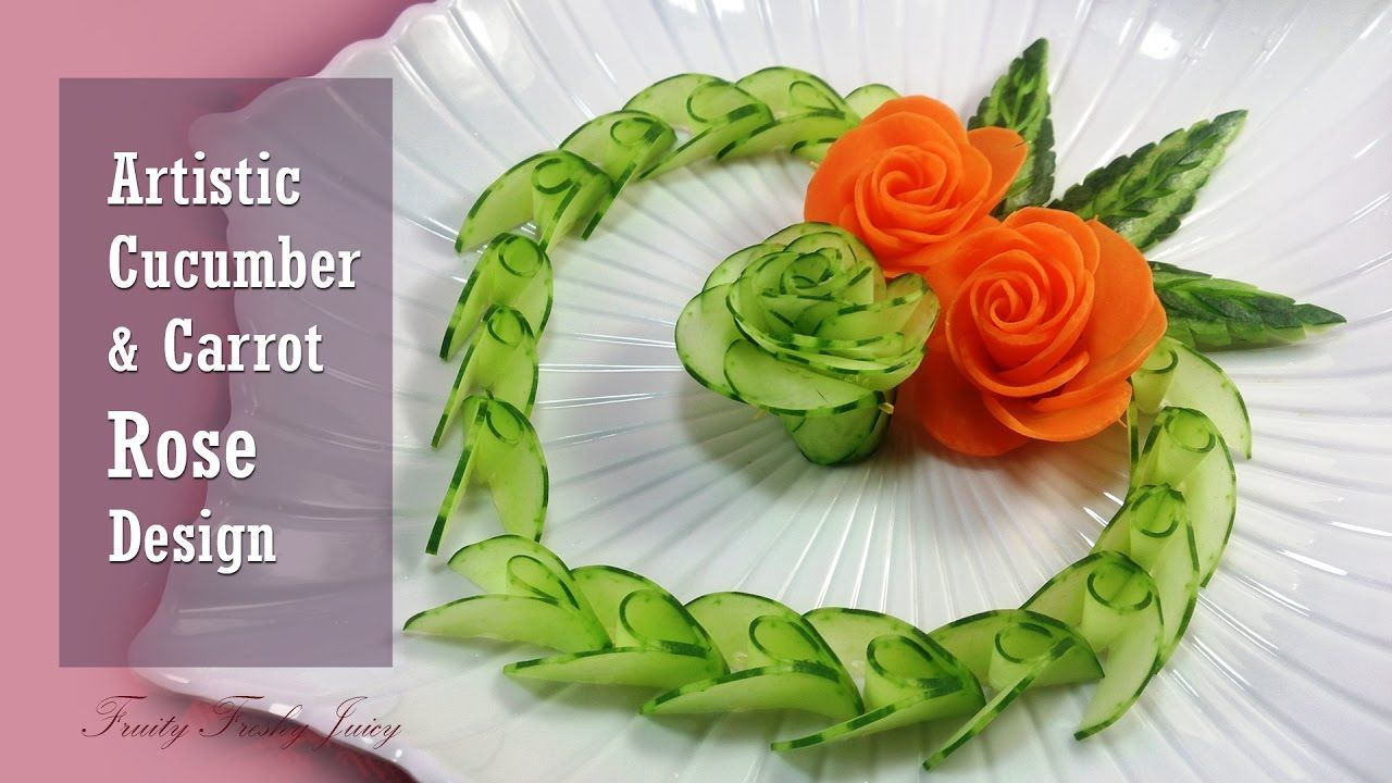 Artistic Cucumber Carrot Rose Carving Design From Vegetable