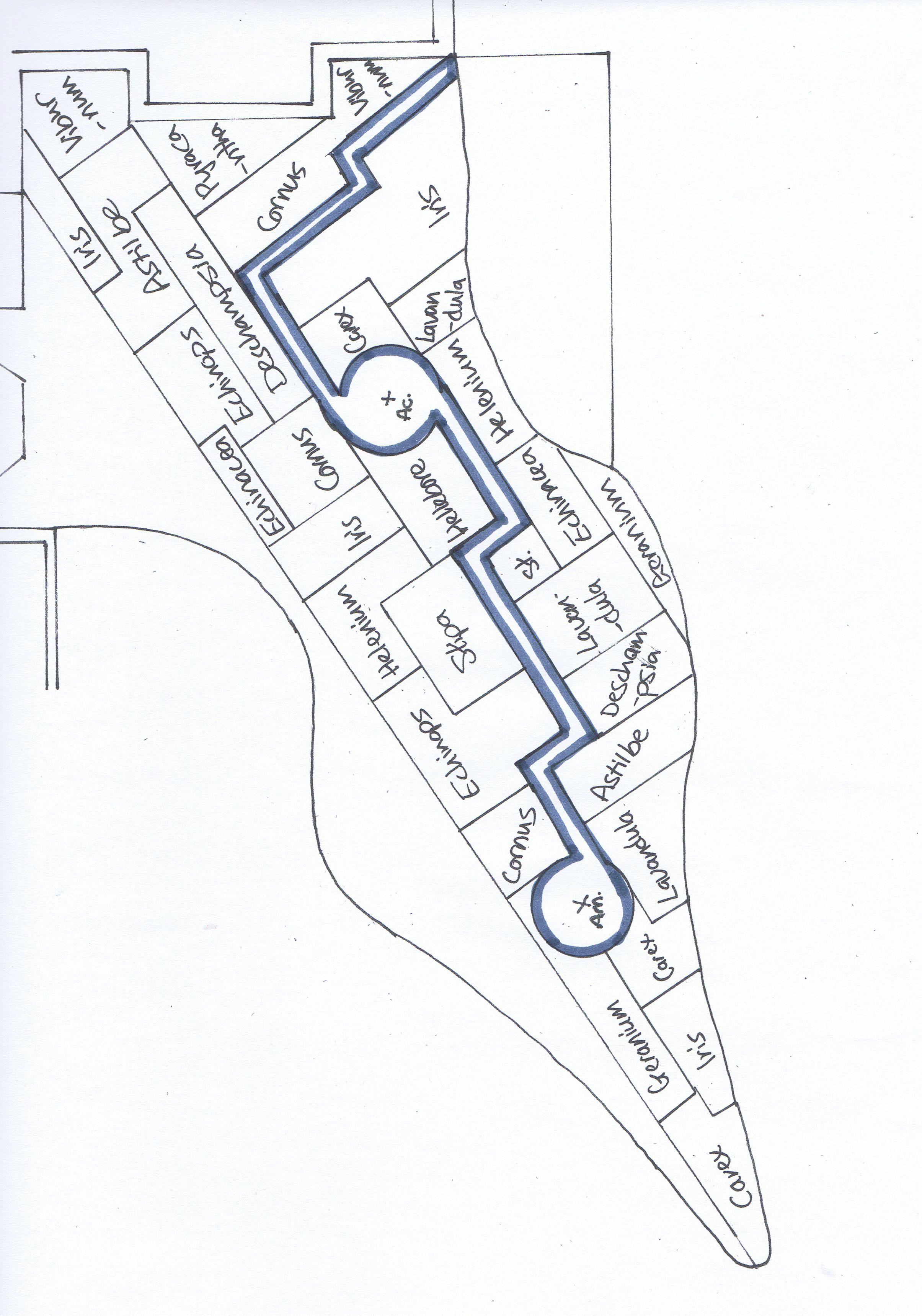 Border design plan with block planting adel front garden border