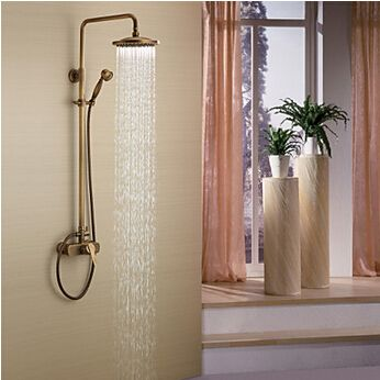 Buy Antique Brass Tub Shower Faucet with 8 inch Shower Head + Hand Shower with best price and best Service!