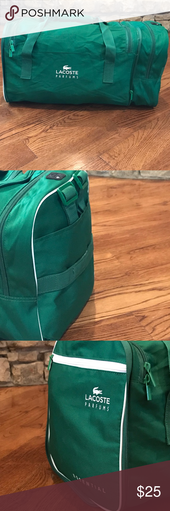 8498872c5a3b6a Lacoste Essential green white duffle bag LACOSTE ESSENTIAL GREEN WHITE  Compact Backpack SPORTS DUFFLE BAG. 20inch in length. Great for gym or  travel.