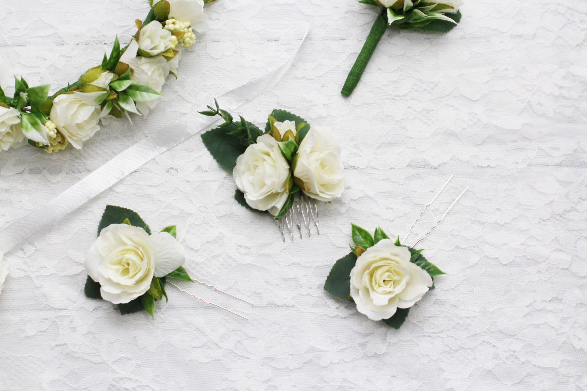 White Wedding Hair Comb White Bridal Hair Comb Bridesmaid Hair