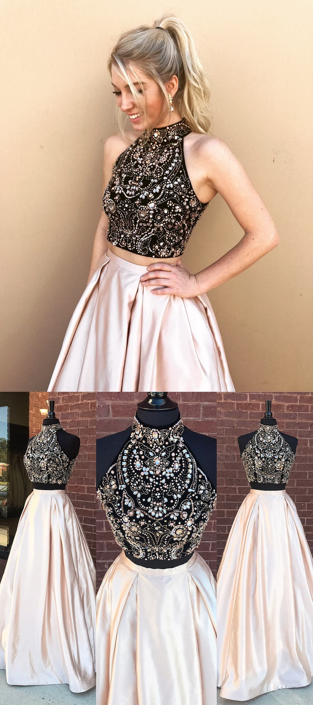 Two piece beads black and champagne long prom dress with pockets