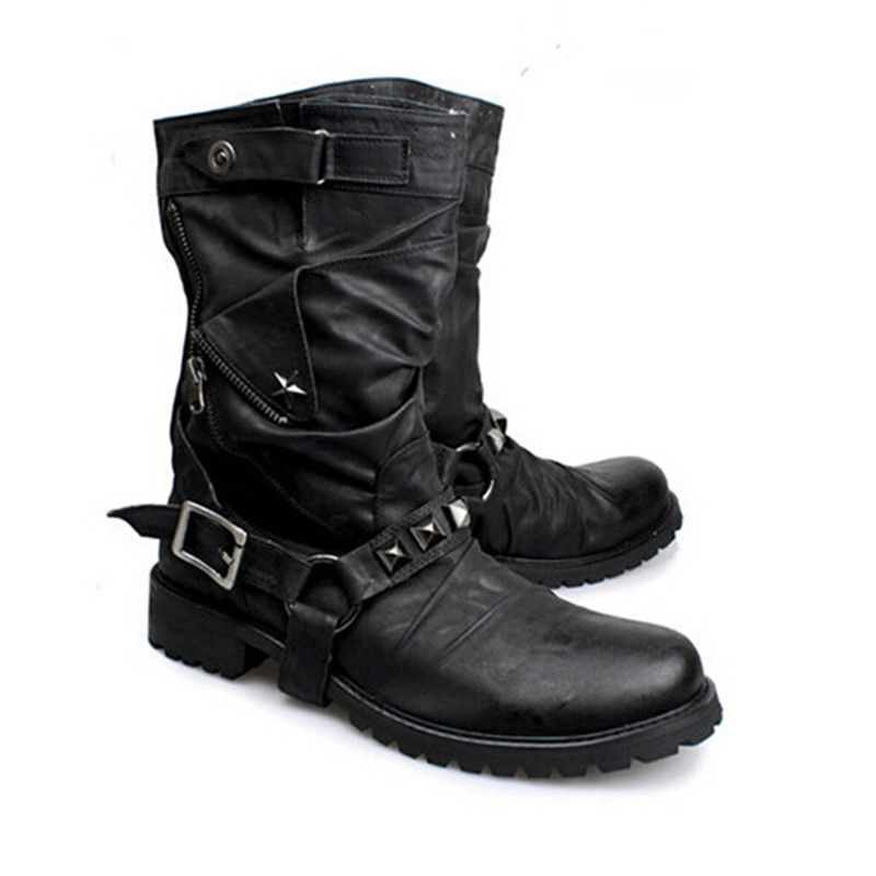 Men's Western Black Rider Mid Calf Boot Genuine Leather Urban Cowboy Buckle Style