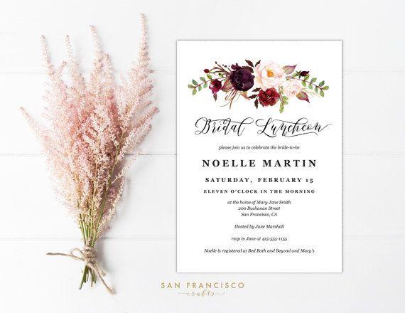 Bridal Luncheon Invitation INSTANT DOWNLOAD Editable Bridal - lunch invitation templates