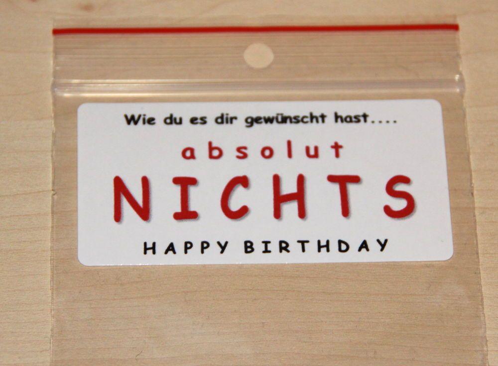 Details zu EINE TÜTE NICHTS in 4 Designs Geschenkidee Geburtstag ...