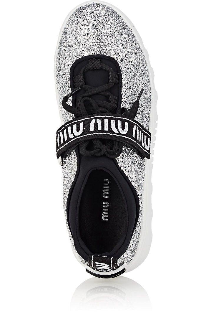 2813681f2a Women s Logo-Strap Glitter Platform Sneakers by Miu Miu