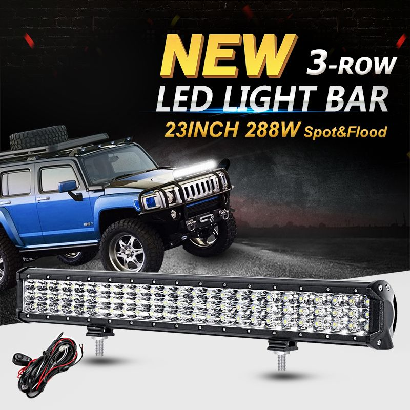 Oslamp 288w 6d 3 row 23inch led light bar offroad cree chips combo oslamp 288w 6d 3 row 23inch led light bar offroad cree chips combo led work aloadofball Images