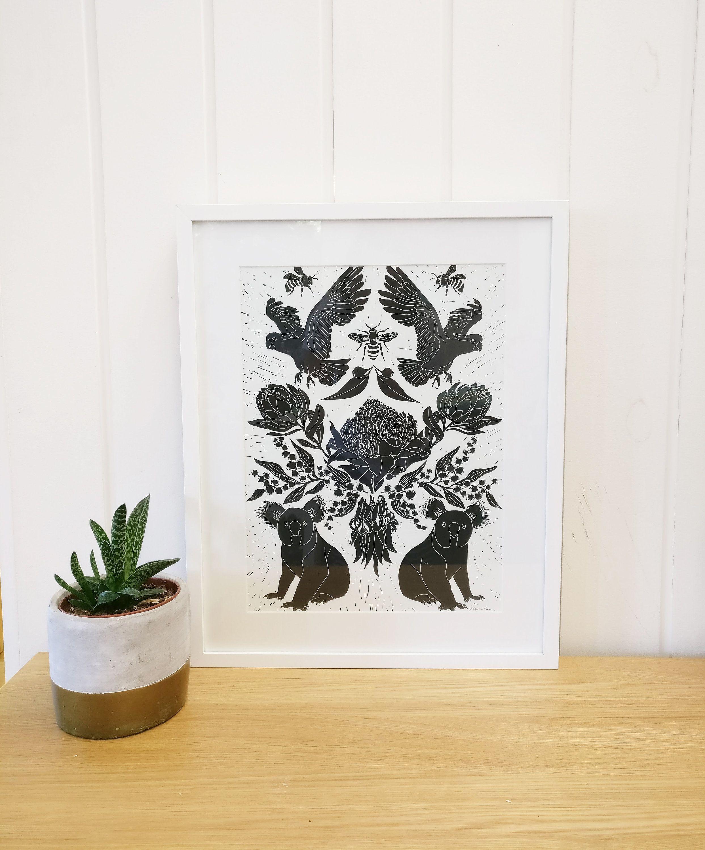 Australiana lino printoriginal artworkwall are prints