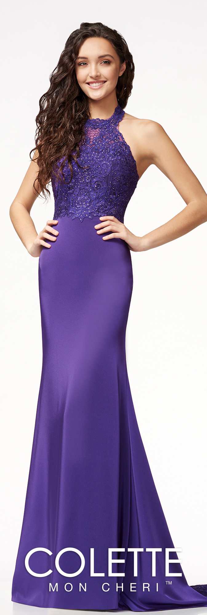 Jersey Halter Formal Dress - Colette for Mon Cheri - CL18224