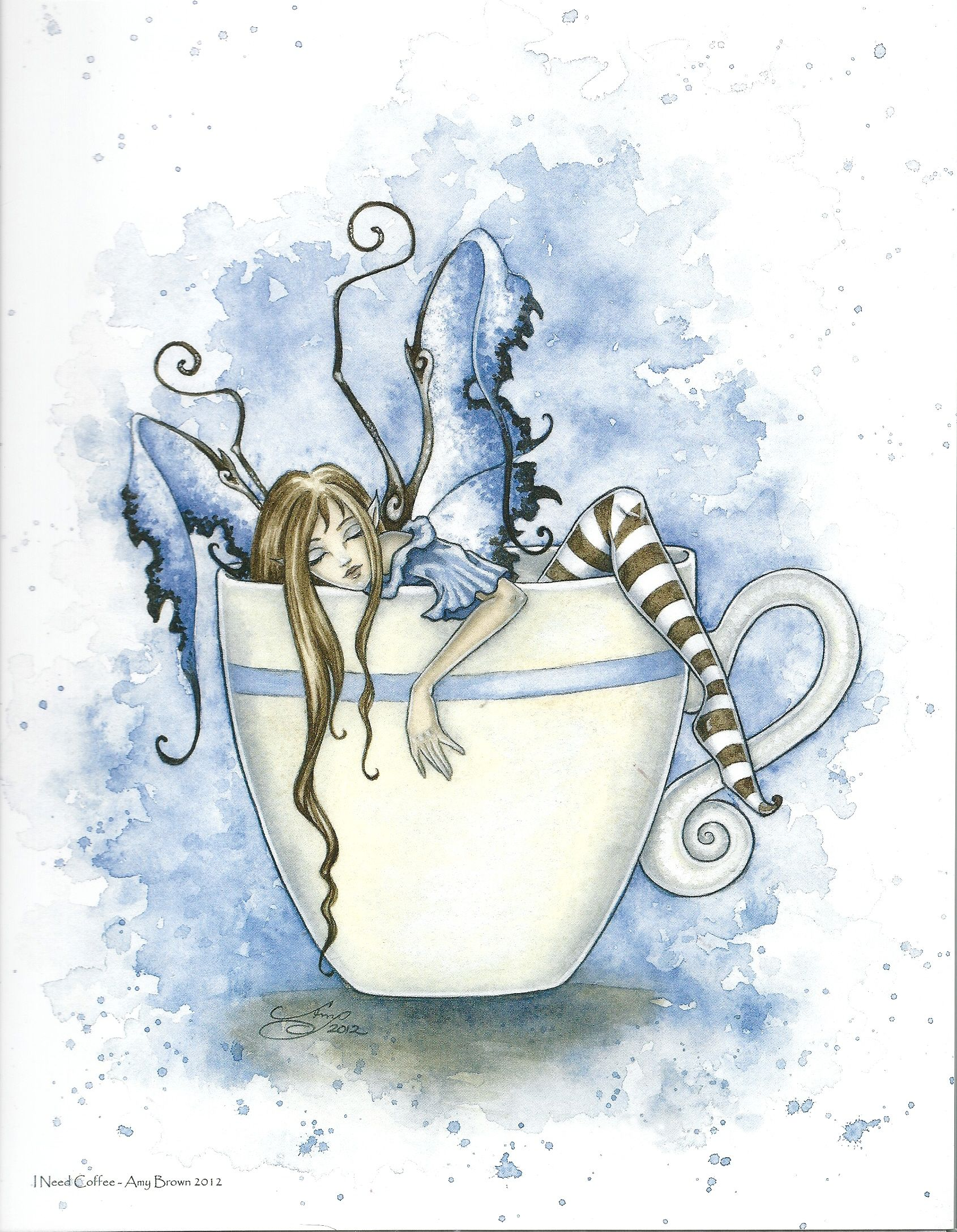 Amy Brown I Need Coffee Fairy/Faery, Print #fantasyart  #amybrown #coffeeandtea - EXACTLY how I feel in the morning!