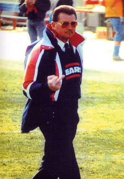 DA BEARS. Legendary Chicago Bears coach Mike Ditka shows they are number 1