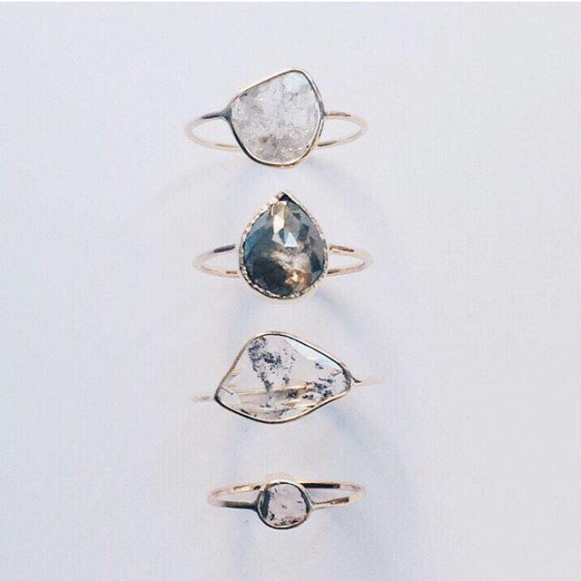 We're obsessing over these mystical diamond sliced rings by  @valejewelry,