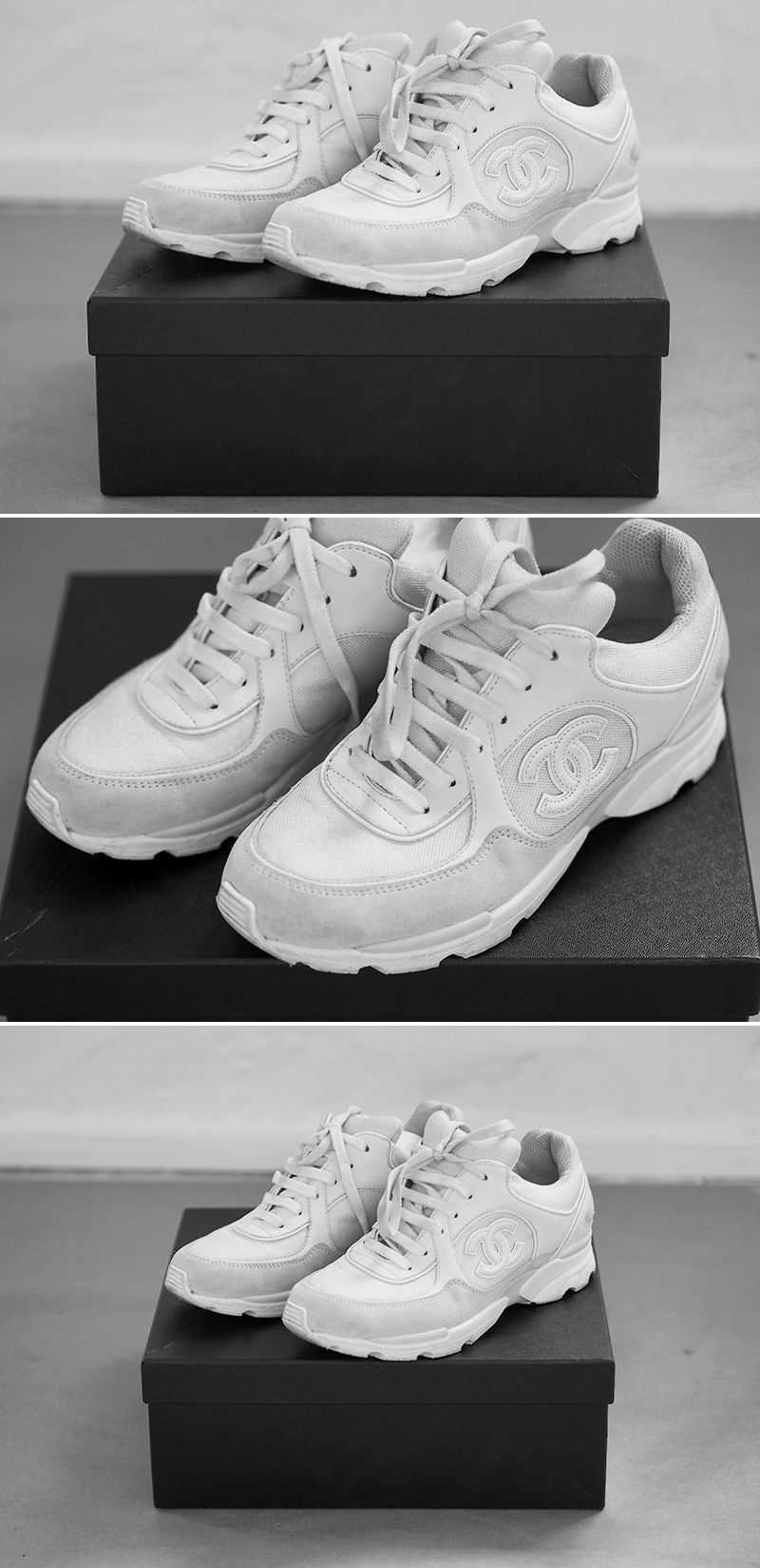 separation shoes e2515 c998a white chanel sneakers Chanel Sko, Nike Basketball, Nike Shox, Zapatos, Mode,