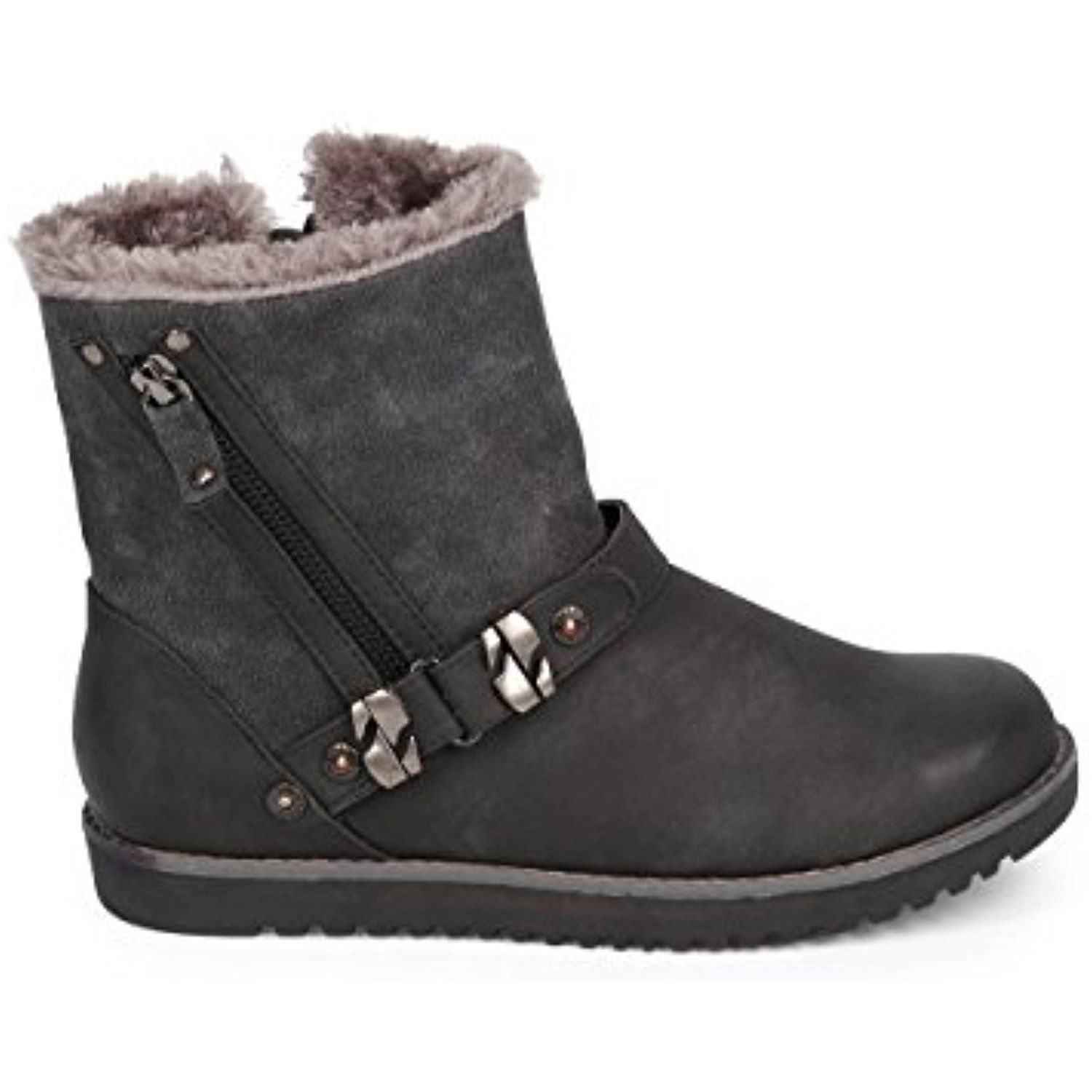 Women's Moby Fur Leatherette Round Toe Zip Motorcycle Boots