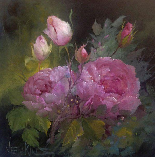 Fleurs des fleurs au bout du pinceau pinterest fleur - Peinture rose pastel ...