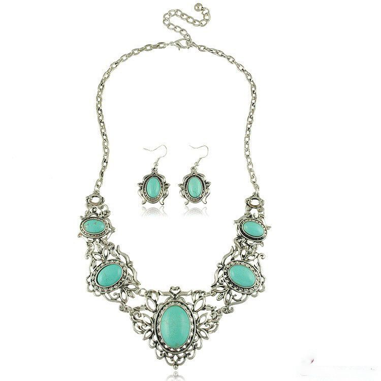 Turquoise necklace earrings bridal jewelry sets wholesale hollow carved necklace accessories in Europe and America US $6.99