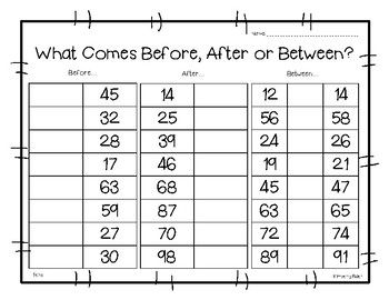 Before, After or Between? Math Number Sense Worksheet | 100 chart ...