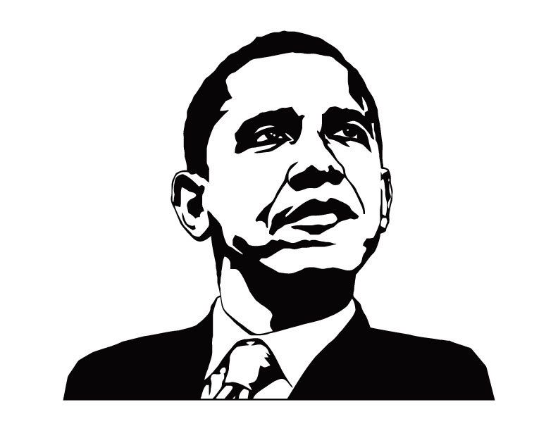 Barack Obama Stencil 2 Black And White Art Drawing Silhouette Art Silhouette Drawing
