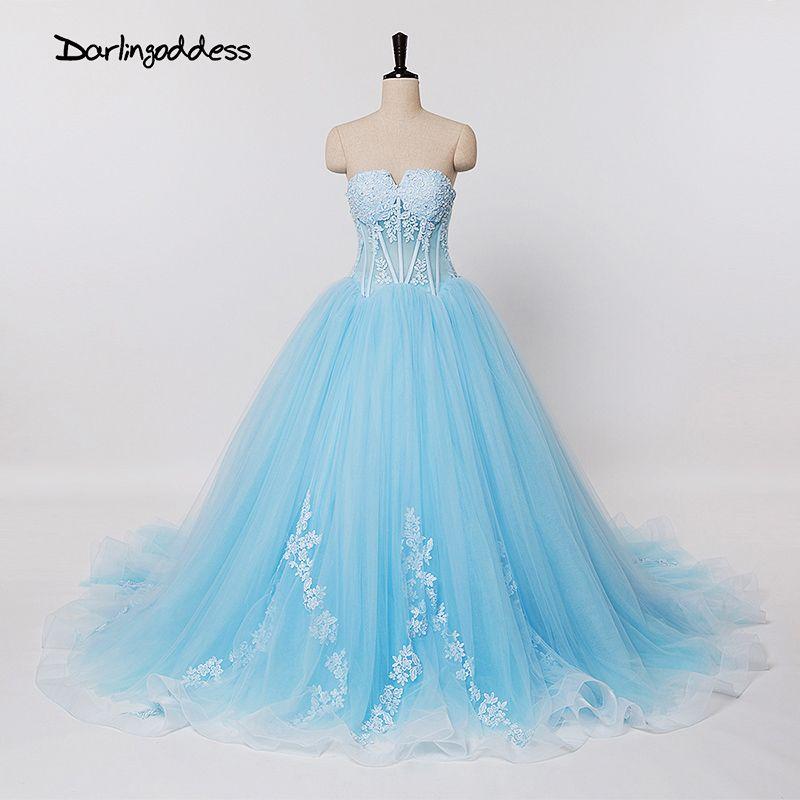 Real Photos Elegant Lace Wedding Dresses Turkey Light Blue Backless ...
