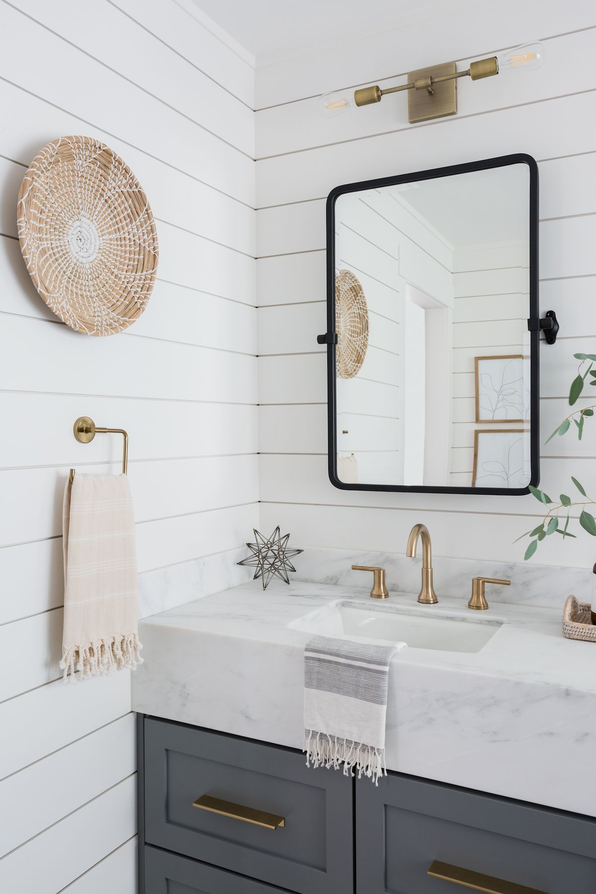 Light & Airy Bathroom with Shiplap, Patterned Tile & Mixed Metals#airy #bathroom #light #metals #mixed #patterned #shiplap #tile