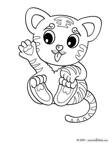 Kawaii tiger coloring page. More jungle animals coloring sheets on ...