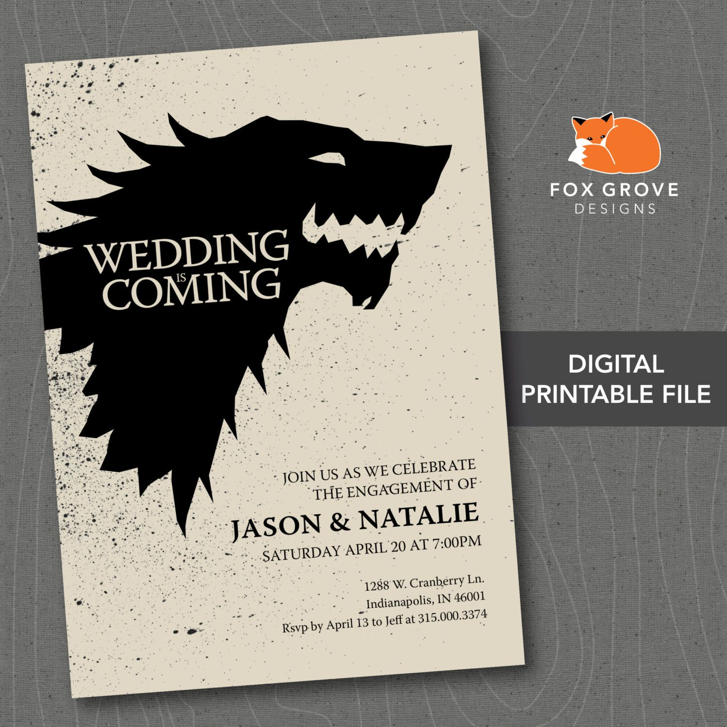 Printable Game Of Thrones Wedding Is Coming Engagement Party Invitation C Printable Engagement Party Invitations Engagement Invitations Party Invite Design