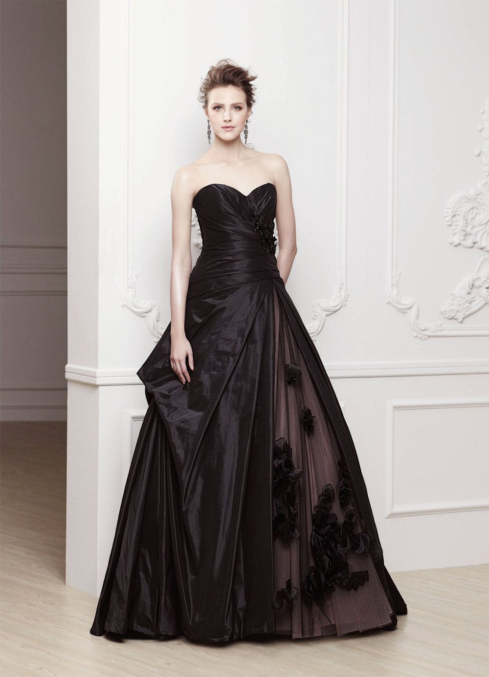 Gothic style wedding dresses  Go for some chic gothic style in this black satin Odessa wedding