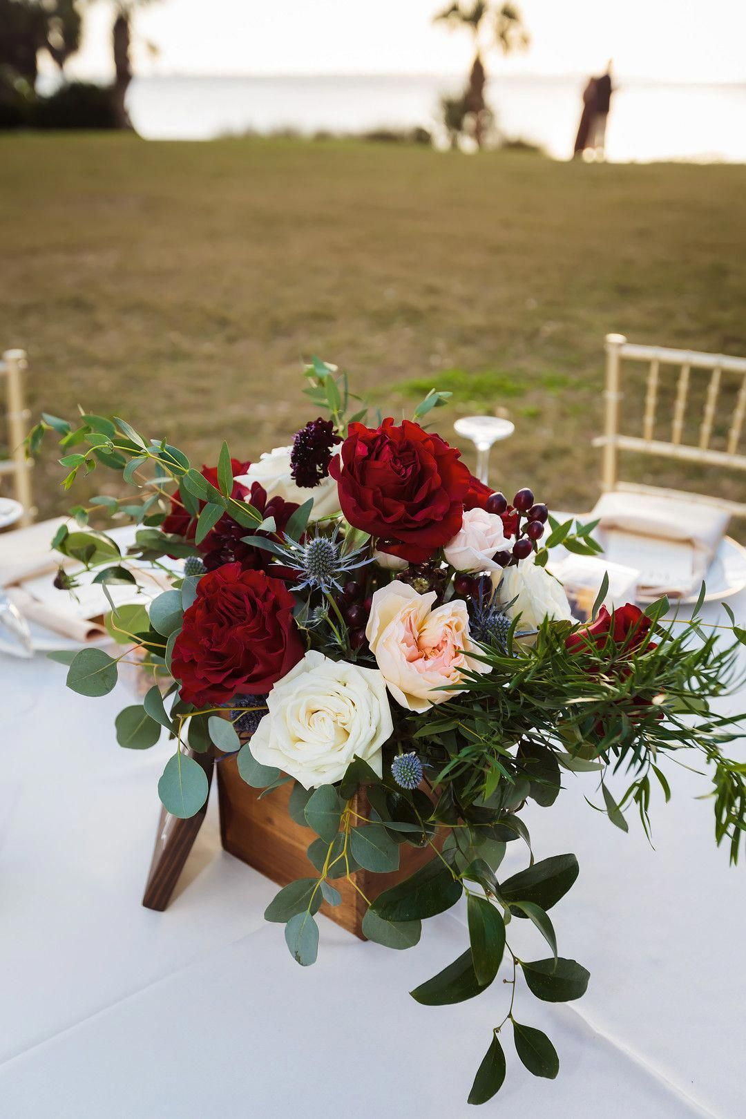 Ivory Blush And Burgundy Floral Centerpiece In A Rustic Wooden Box For A In 2020 Wedding Floral Centerpieces Flower Centerpieces Wedding Burgundy Wedding Centerpieces