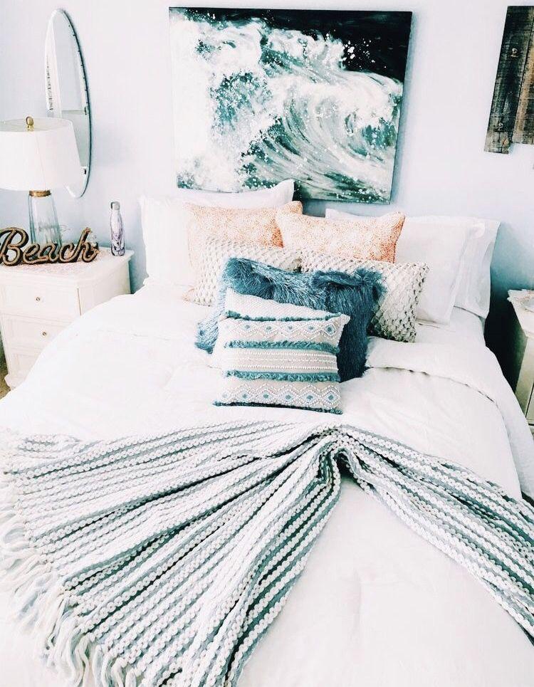 beach wave sunshine summer room bedroom blue